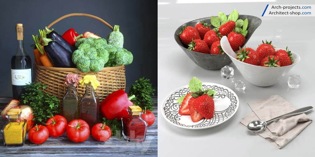 مدل سه بعدی میوه و سبزیجات