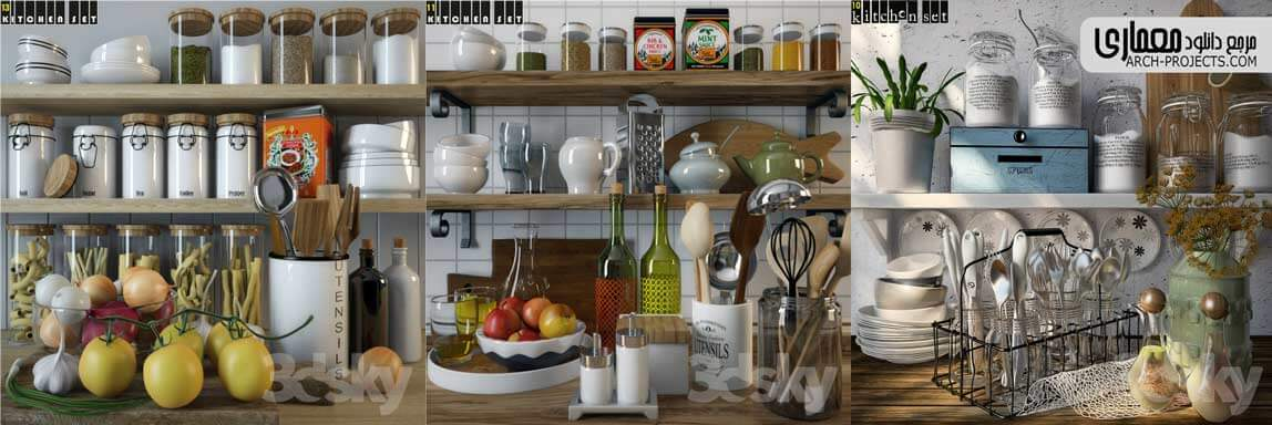 مدل سه بعدی آشپزخانه