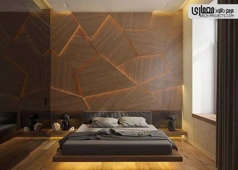 طرحی اتاق خواب با دیوار چوبی و نور مخفی زیبا