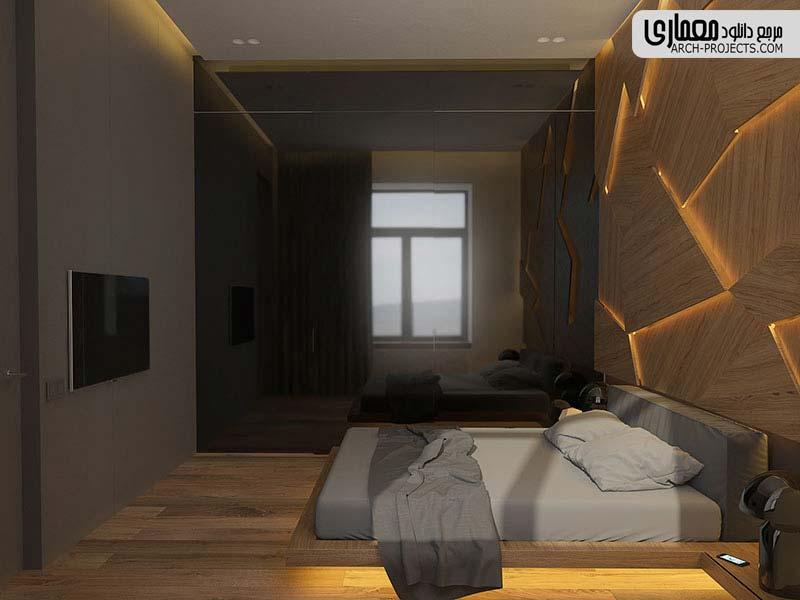 طرحی اتاق خواب با دیوار چوبی