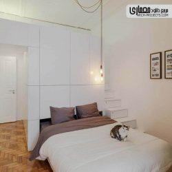 طراحی دکوراسیون آپارتمان کوچک با طراحی تخت مخفی