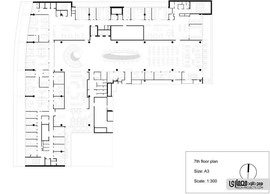 نمونه طراحی پلان کتابخانه