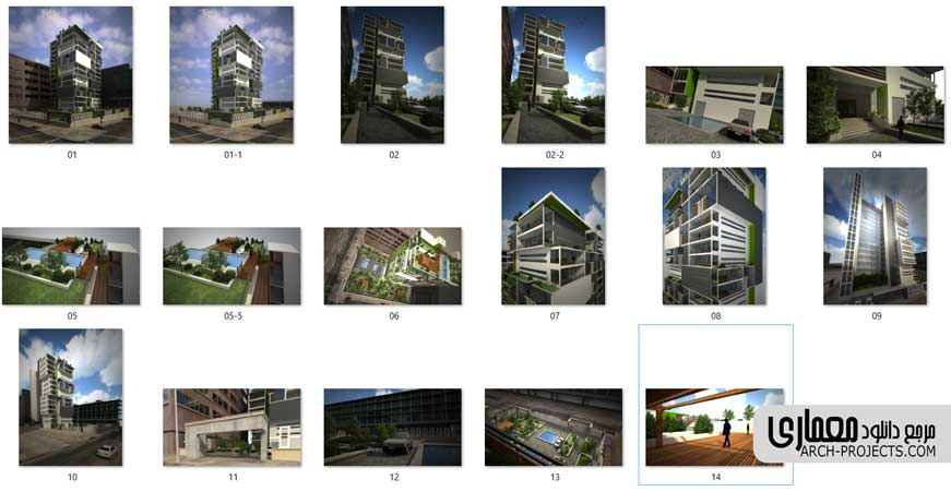سه بعدی پروژه برج مسکونی