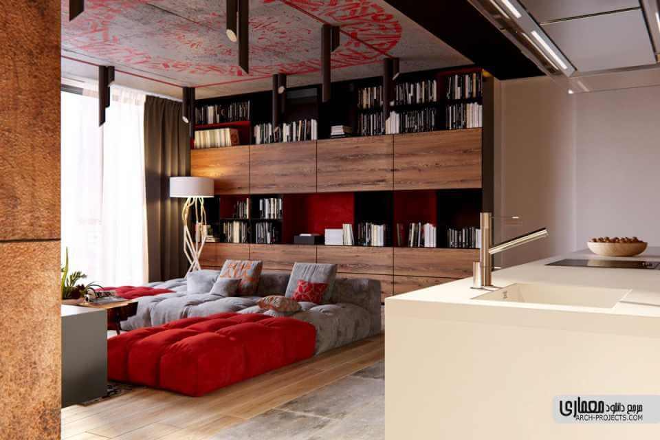 3 طراحی داخلی آپاراتمان مدرن بارنگ قرمز