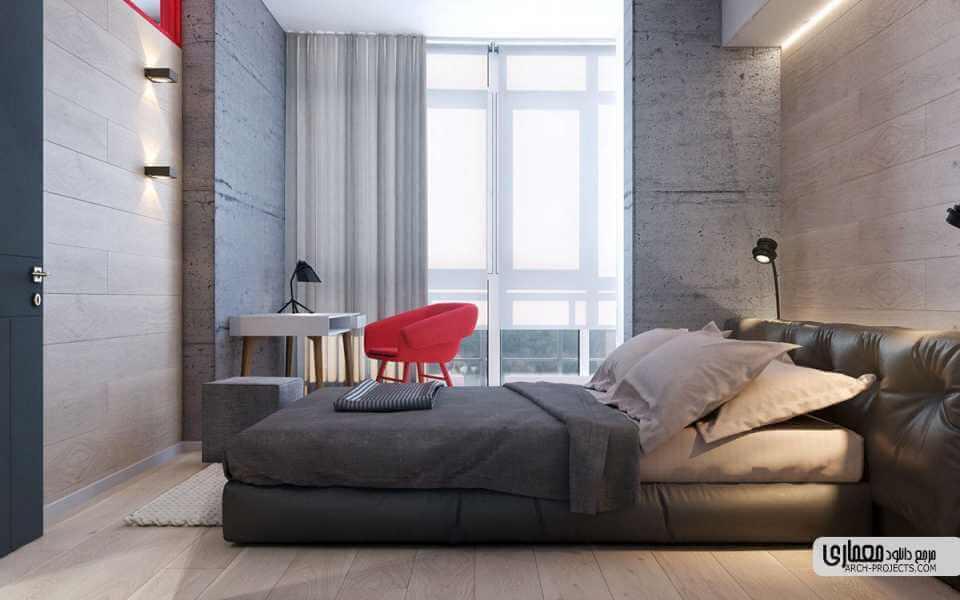 طراحی داخلی آپاراتمان بارنگ قرمز