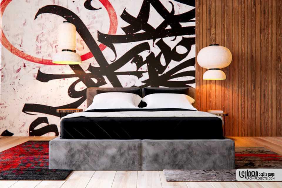 طراحی داخلی اتاق خواب بارنگ قرمز