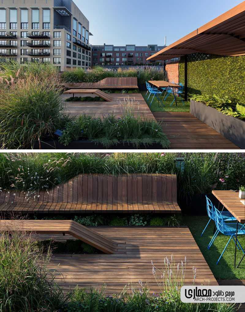 ایده طراحی بام سبز با صندلی های مدولار