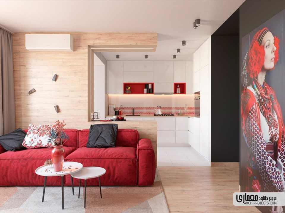 دکوراسیون داخلی آپارتمان با رنگ قرمز