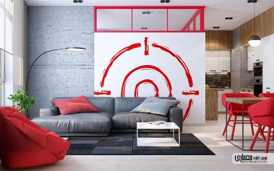 طراحی داخلی با رنگ قرمز