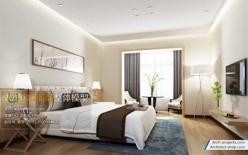 مدل سه بعدی اتاق خواب مدرن