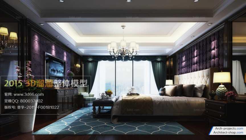 مدل سه بعدی اتاق خواب به سبک اروپای