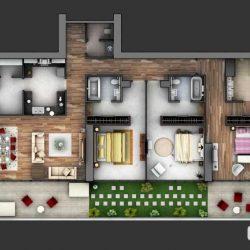 ایده های طراحی پلان آپارتمان 3 خوابه