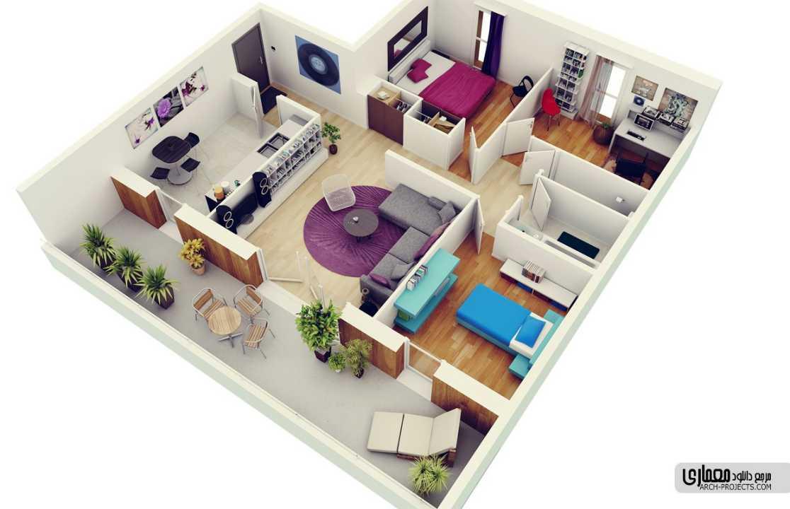 ایده طراحی پلان آپارتمان 3 خوابه