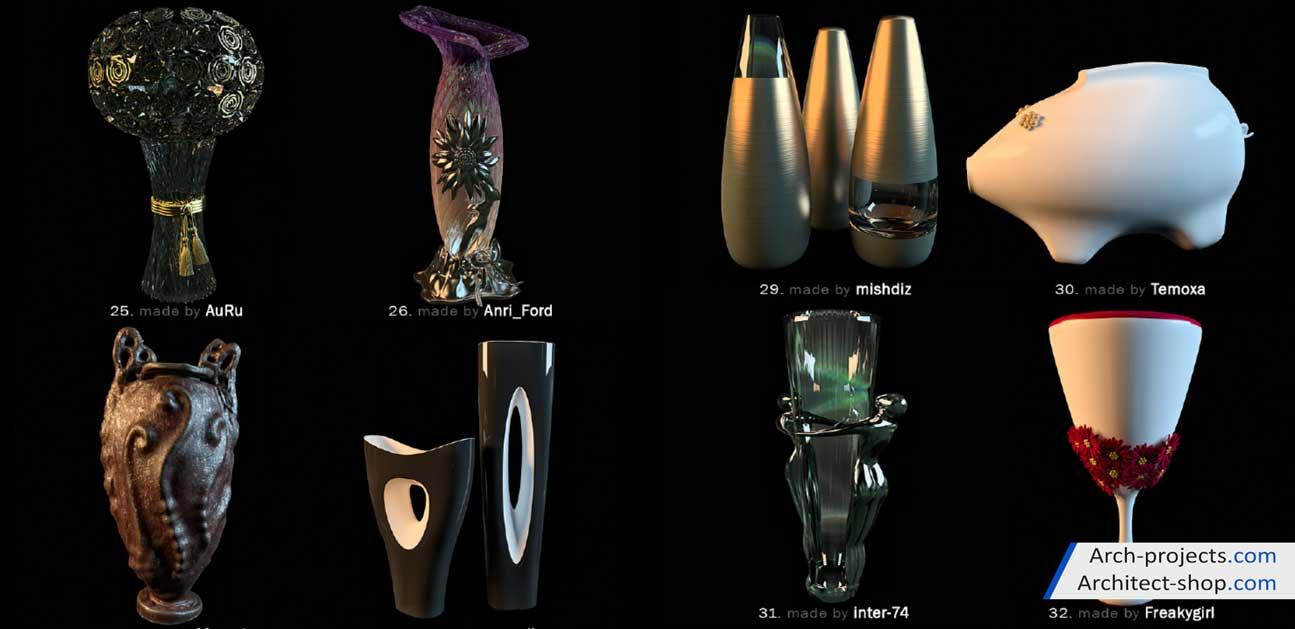 دانلود مدل سه بعدی گلدان دکوری