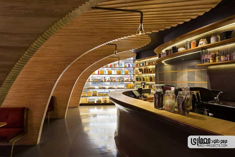 چوب در طراحی داخلی کافی شاپ