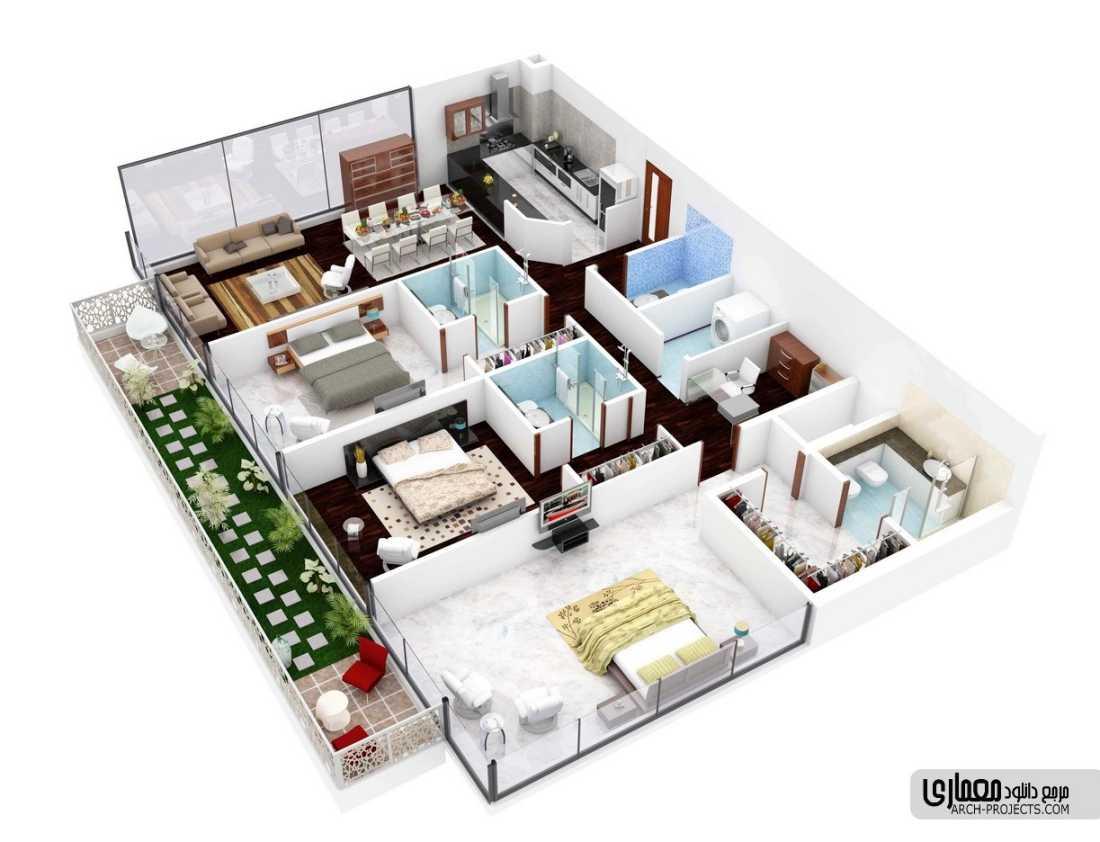 طراحی پلان آپارتمان 3 خوابه