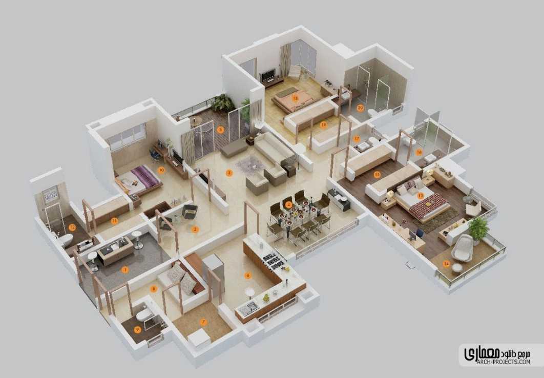 پلان آپارتمان 3 خوابه