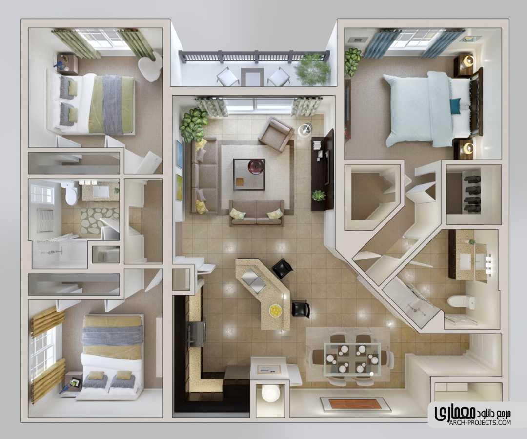 پلان مسکونی 3 خوابه
