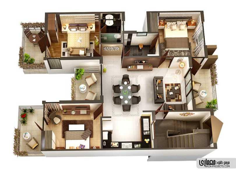 نقشه آپارتمان 3 خوابه