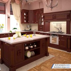 آبجکت کابینت آشپزخانه کلاسیک