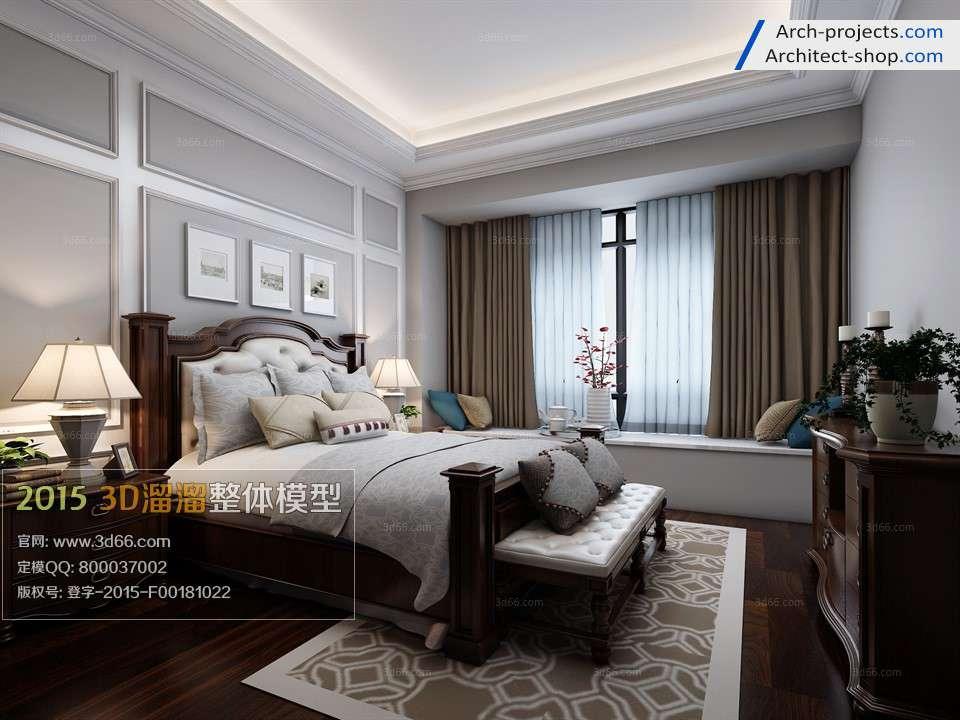 دانلود مدل سه بعدی اتاق خواب به سبک آمریکای