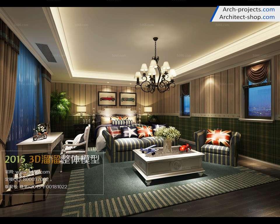 مدل سه بعدی اتاق خواب به سبک آمریکای