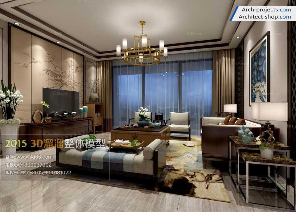 مدل سه بعدی اتاق نشیمن مدرن به سبک Fusion