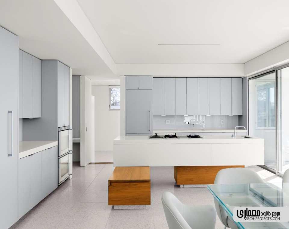 آشپزخانه خاکستری و سفید که ترکیب چشم نوازی دارند