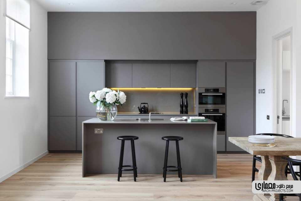 آشپزخانه خاکستری و سفید