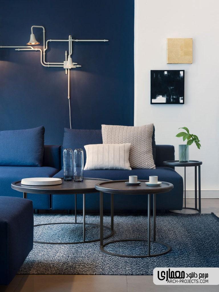 طراحی نشیمنی مدرن به رنگ آبی تیره