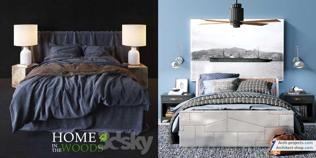دانلود آبجکت تخت خواب کلاسیک و مدرن
