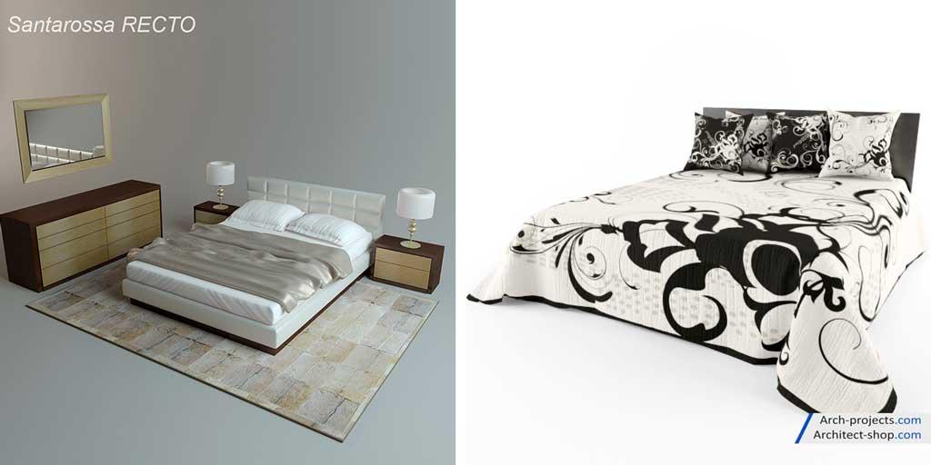 دانلود آبجکت تخت خواب کلاسیک