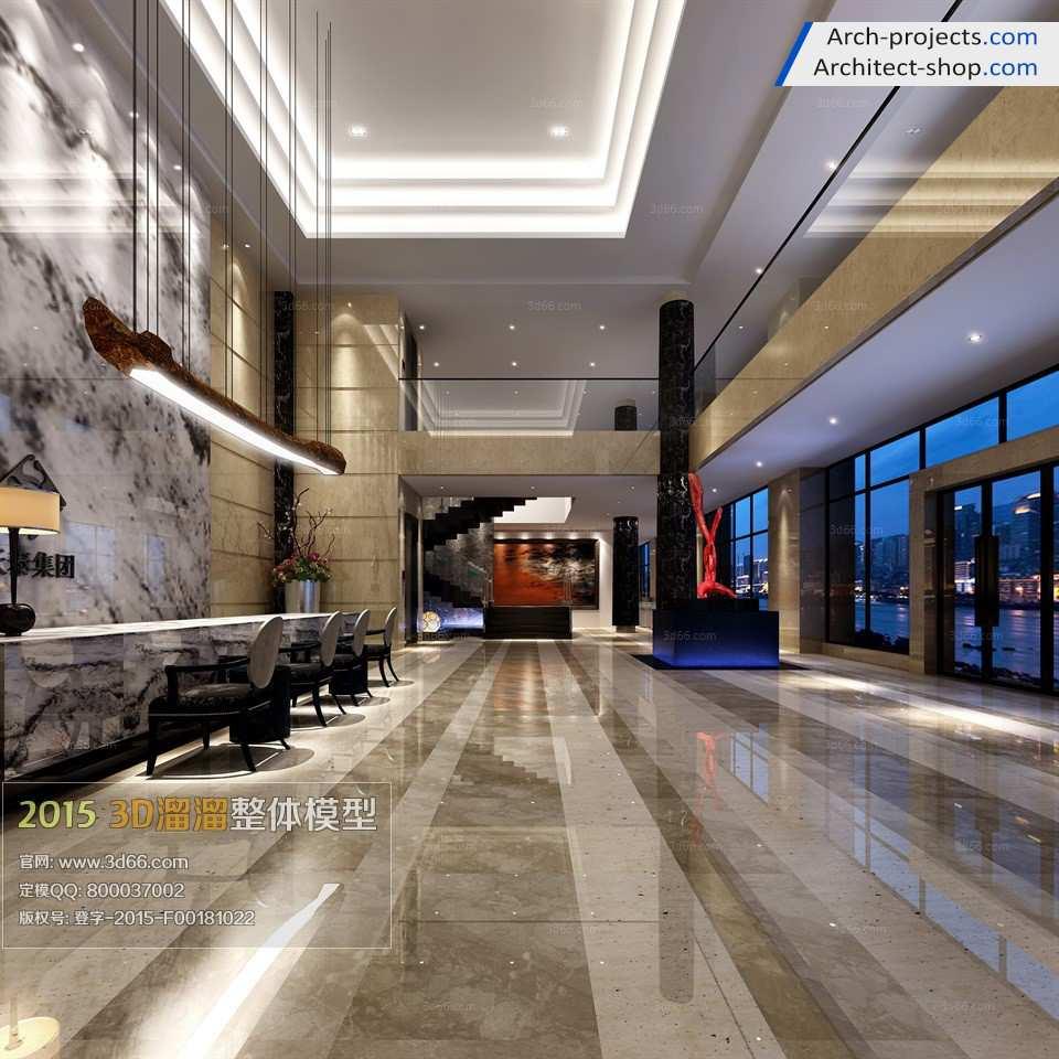 مدل سه بعدی لابی هتل