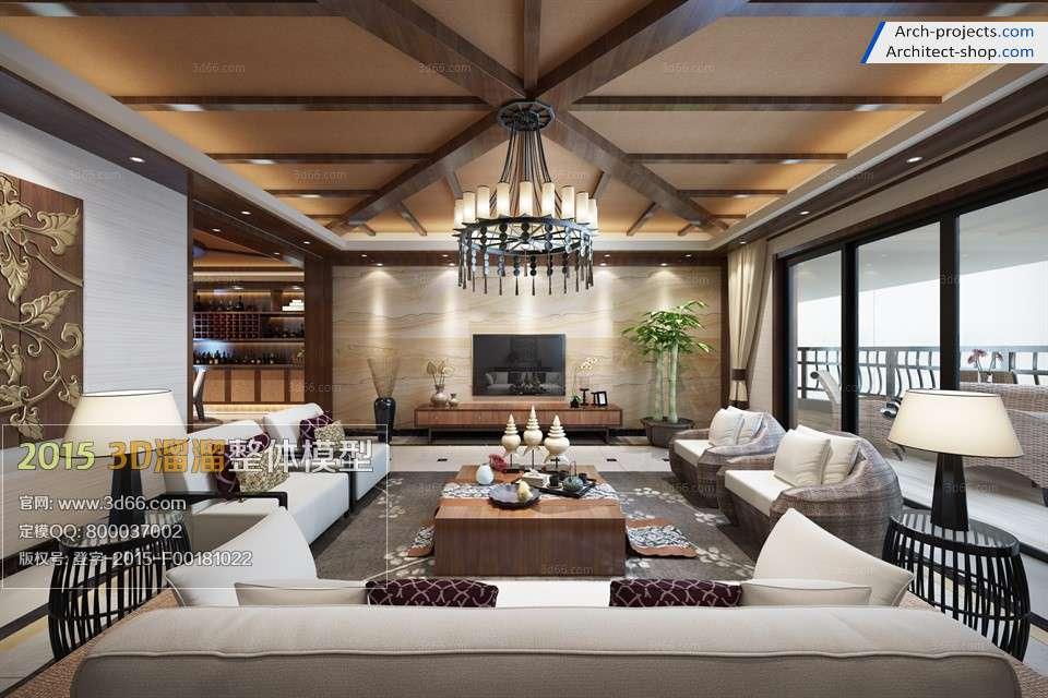 مدل سه بعدی اتاق نشیمن به سبک آسیای جنوبی
