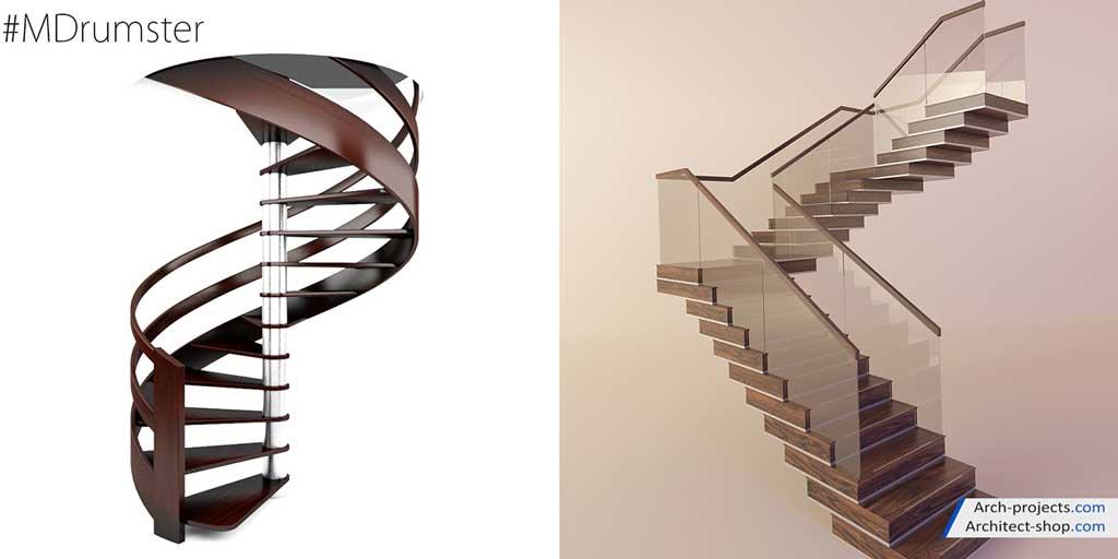 مدل سه بعدی پله گرد