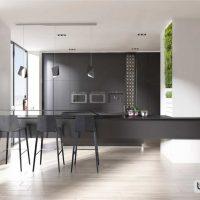 40 ایده طراحی سیاه و سفید برای آشپزخانه