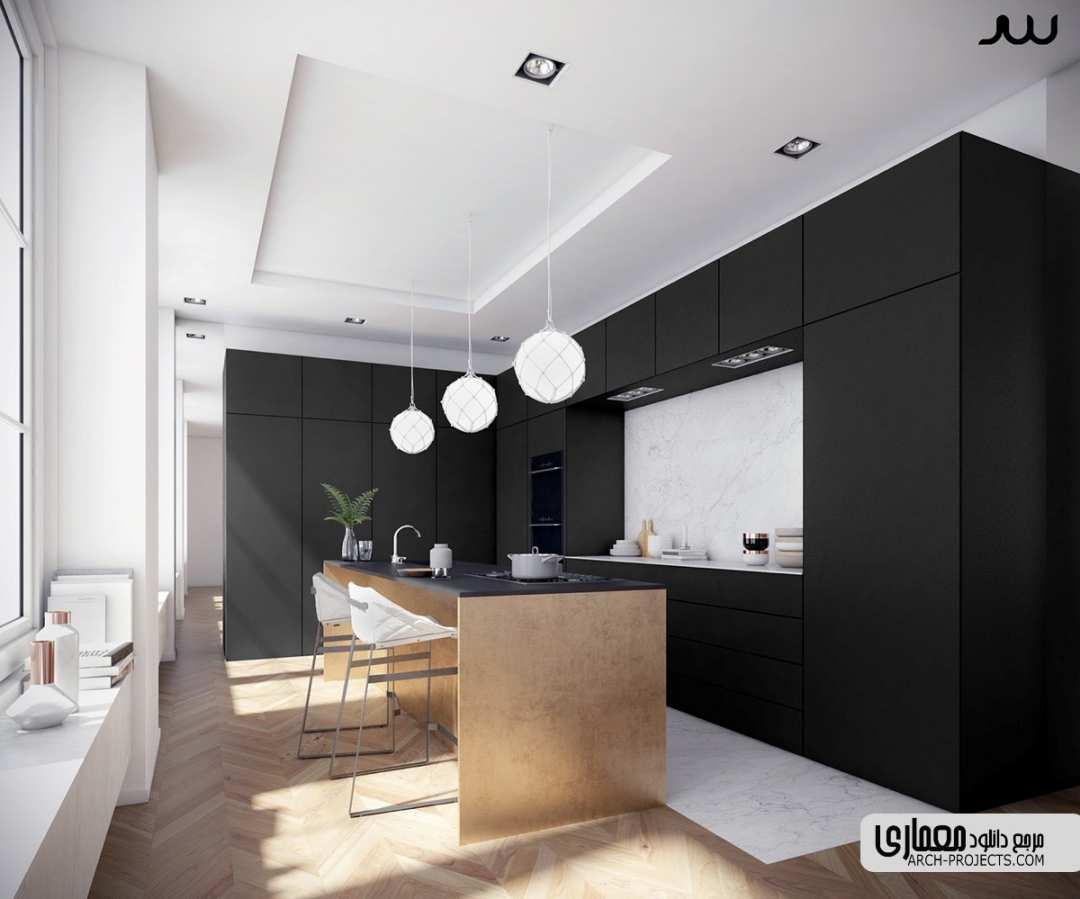 طراحی آشپزخانه با تم تیره