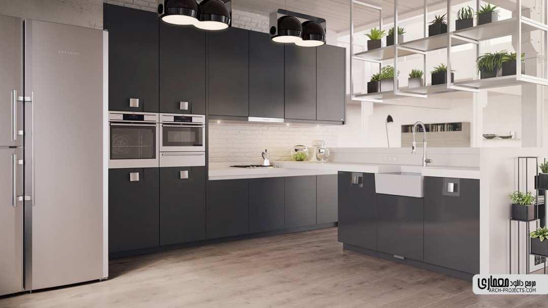 طراحی آشپزخانه با تم سیاه