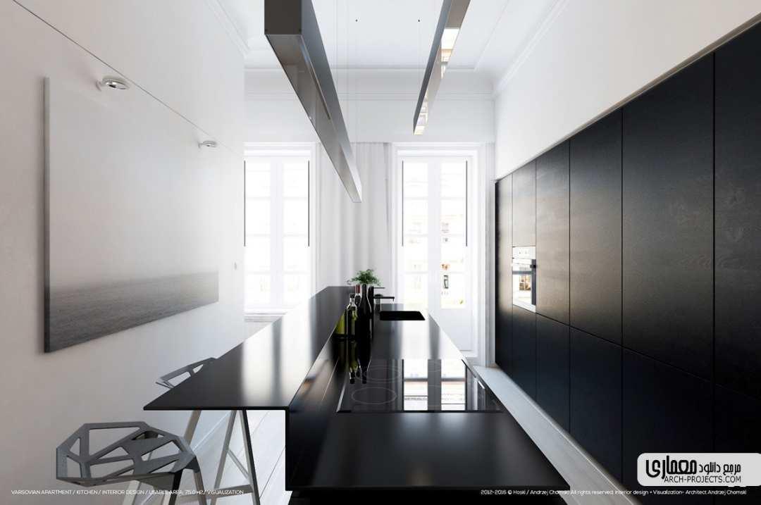طراحی آشپزخانه سیاه و سفید