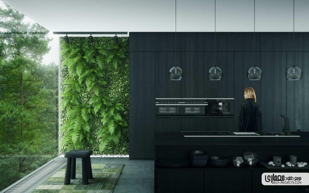 ایده طراحی سیاه و سفید برای آشپزخانه
