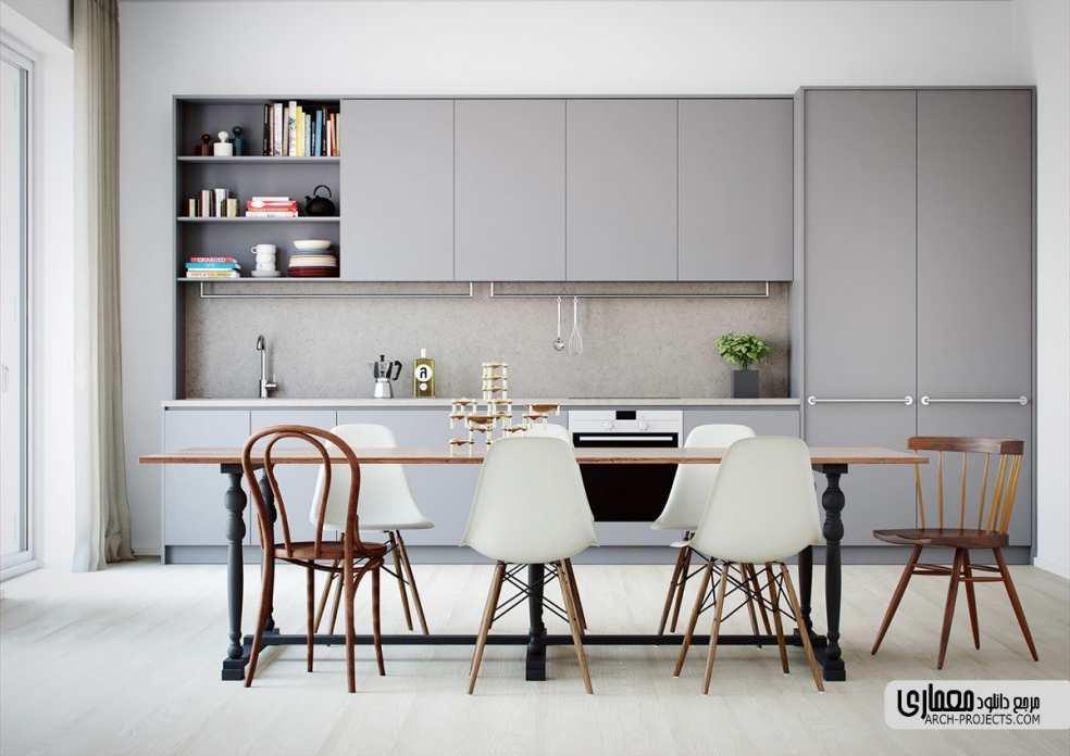 ایده خاص برای طراحی داخلیآشپزخانه با تم خاکستری