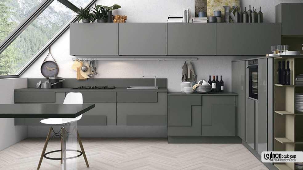 ایده طراحی داخلیآشپزخانه با تم خاکستری