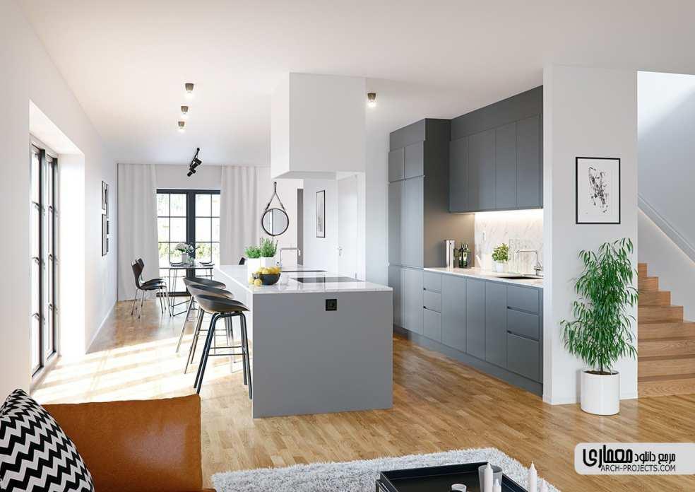 طراحی داخلیآشپزخانه با تم خاکستری