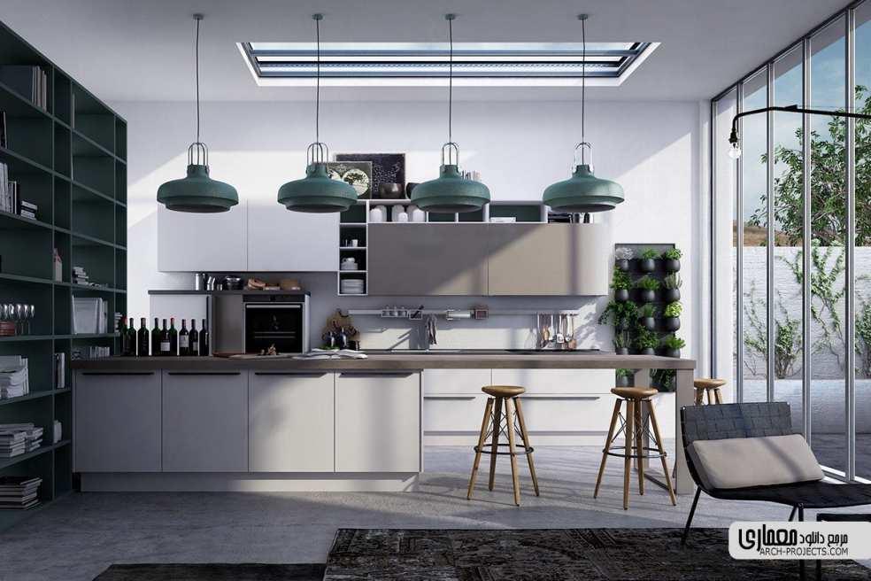آشپزخانه با تم خاکستری
