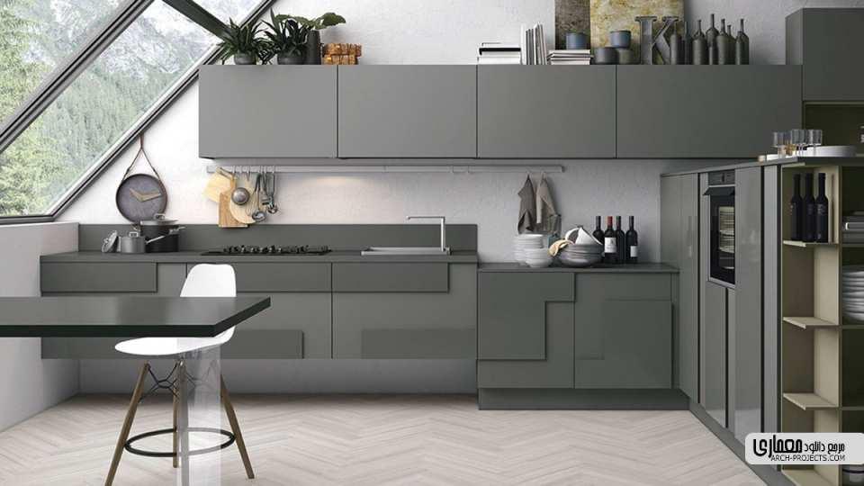 طرح مدرن آشپزخانه با اشکال هندسی نامتعارف