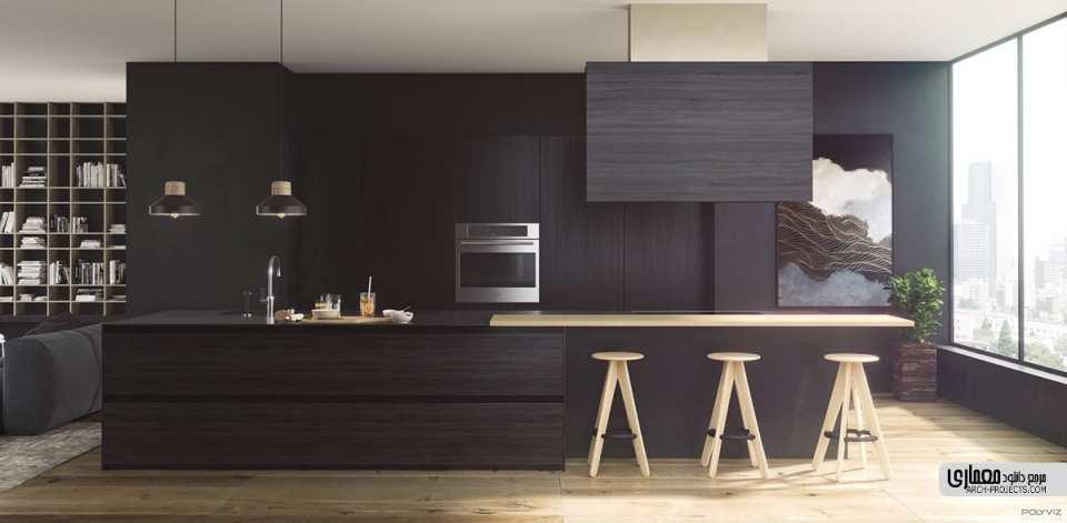 آشپزخانه مدرن مشکی