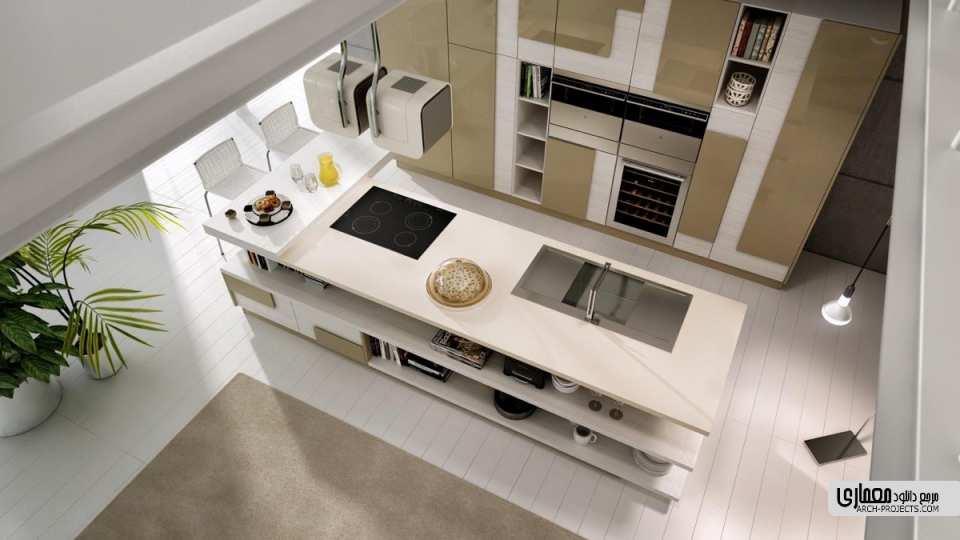 طرح آشپزخانه با اشکال هندسی نامتعارف