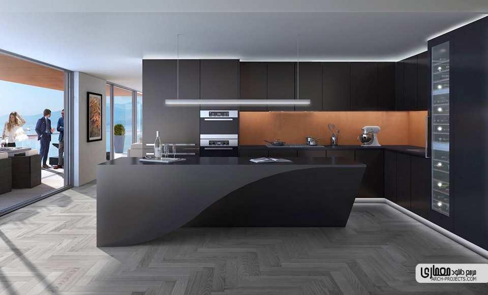 طرح آشپزخانه با اشکال هندسی