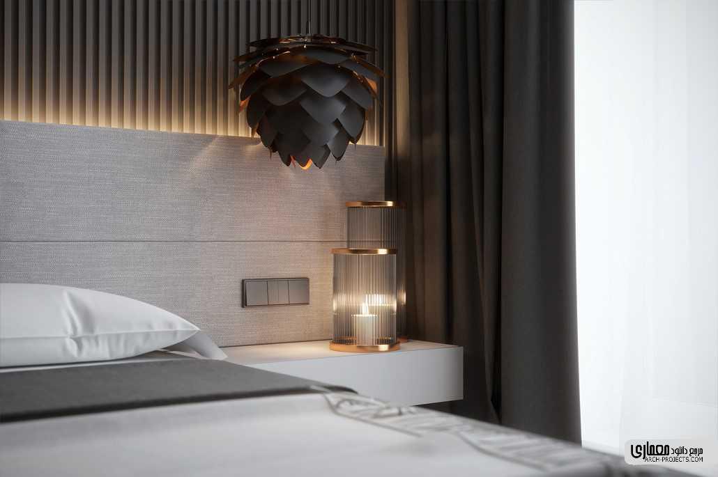 طراحی اتاق خواب با تم سیاه و خاکستری