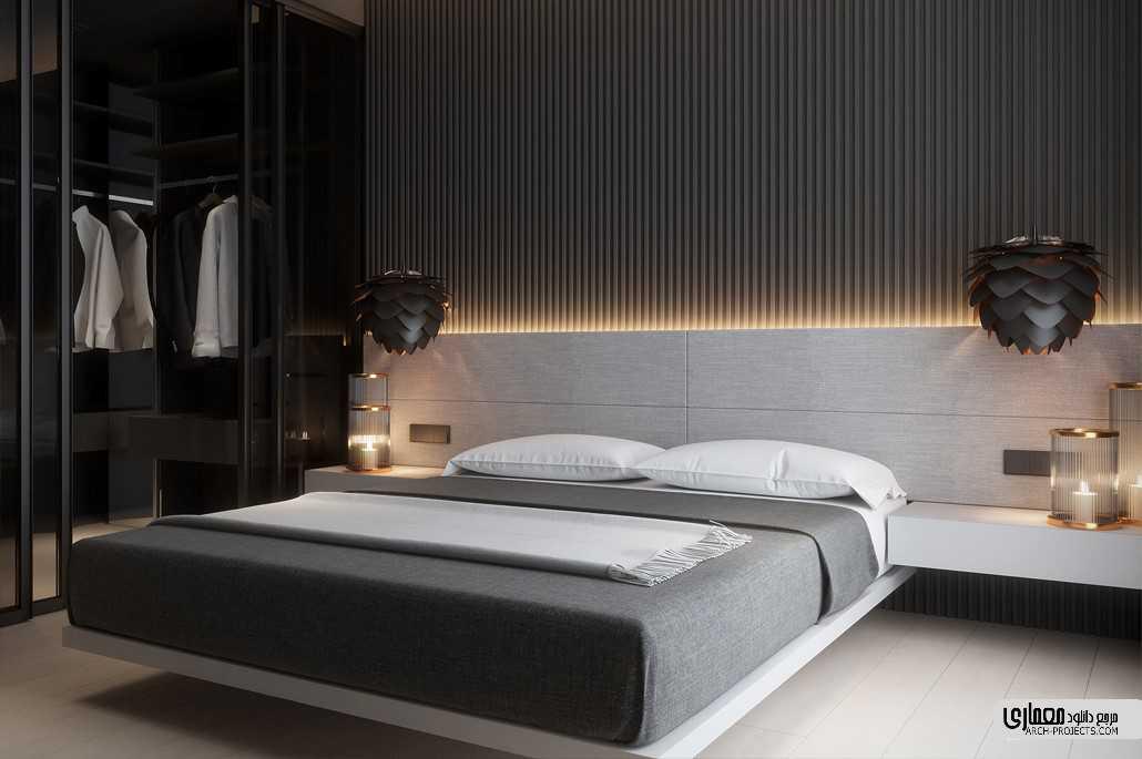 طراحی اتاق خواب با تم تیره